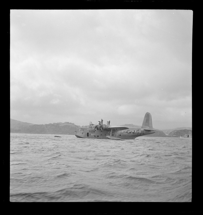 The arrival of the BOAC Hobart G-AGJL, a Short Hythe flying boat, at Evans Bay, Wellington Harbour