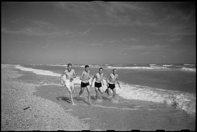 World War II New Zealand soldiers on the beach near Ancona, Italy - Photograph taken by George Kaye