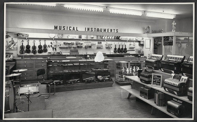 Musical instruments section of Begg's music shop