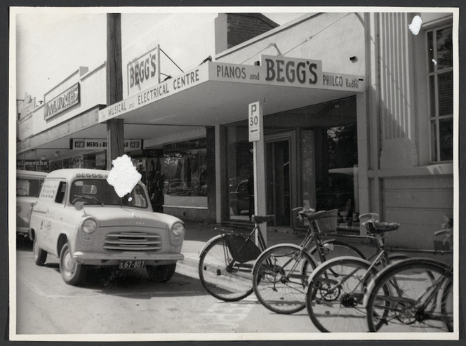 Begg's musical and electrical shop, with Begg's van outside
