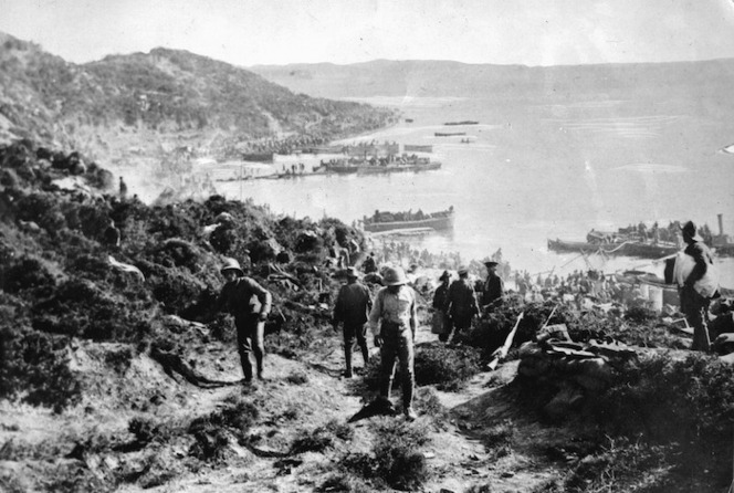 New Zealand and Australian soldiers landing at Anzac Cove, Gallipoli, Turkey