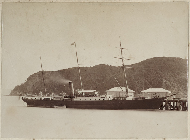 The New Zealand Government ship `Hinemoa' moored at a wharf