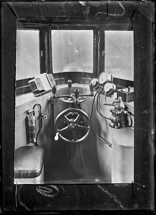 Driver's compartment of the Thomas transmission rail motor car, 1916