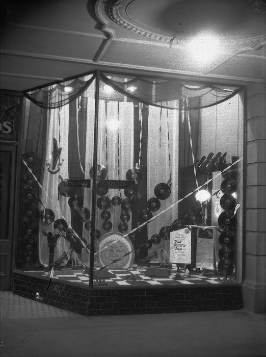 Display of His Master's Voice gramophone records, in the window of C Begg & Co, Christchurch