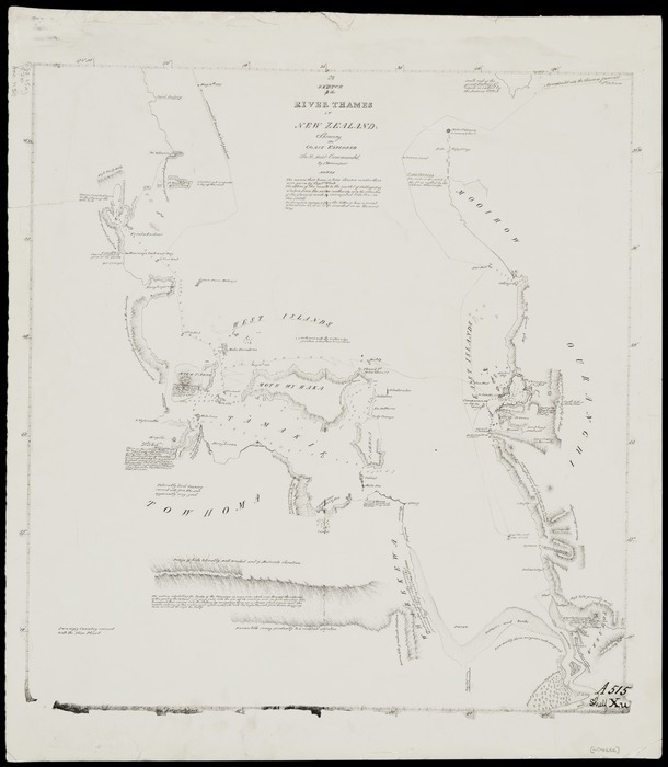 Downie, James, 1819-1822 :A sketch of the River Thames in New Zealand; showing the coast explored in HMS Coromandel by J Downie [copy of ms map]. [1820]