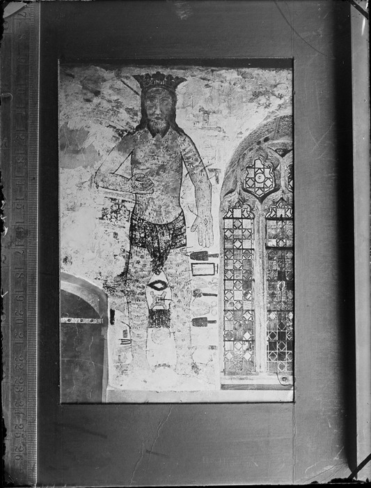Copy photograph of Jesus the Christ wearing a crown, showing ruler on side of print, by an unknown artist, taken during Williams' European trip