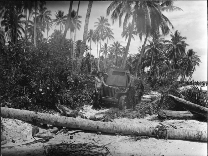 World War 2 New Zealand troops, with their jeep, Nissan Island, Papua New Guinea