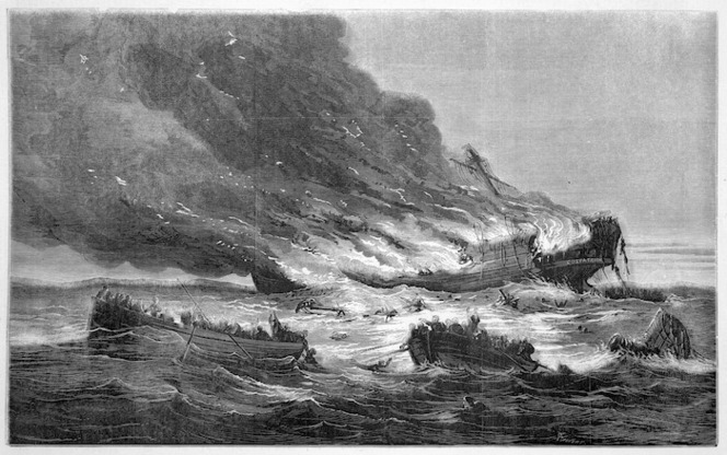 Calvert, Samuel, ca 1828-1913 :The burning of the emigrant ship Cospatrick off the Cape of Good Hope [1874]. Auckland, Illustrated New Zealand herald.