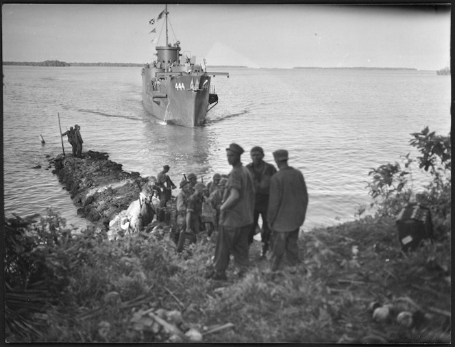Infantry landing craft arriving at Tangalan Plantation, Nissan Island, Papua New Guinea, during World War 2