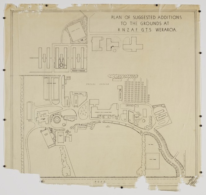 Buxton, Trevor Sidney, 1901-1948 :Plan of suggested additions to the grounds at RNZAF GTS Weraroa. [1932-1948]