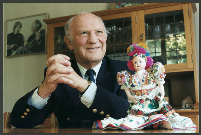 Louis Somogyvary from Hungary, alongside a doll dressed in traditional Hungarian clothing - Photograph taken by Phil Reid