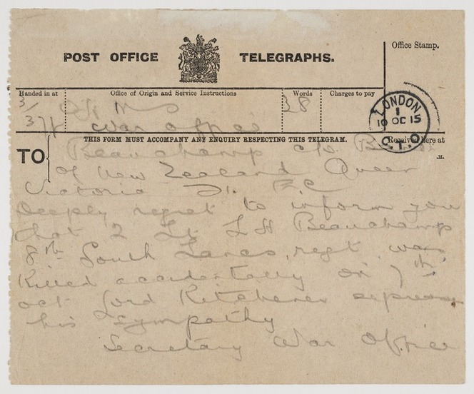 Telegram of condolence to Harold and Annie Beauchamp