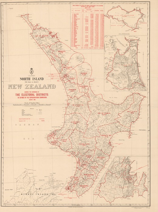 North Island (Te Ika-A-Maui) New Zealand showing the boundaries of the electoral districts as defined by the Representation Commission, August, 1902 / G.P Wilson, delt.