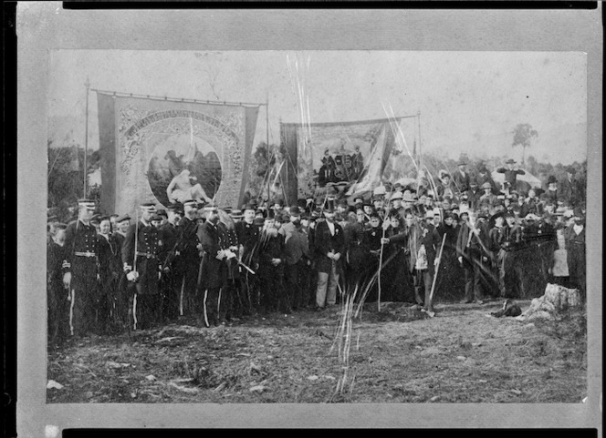 Crowd with Freemasons banners including one listing the Loyal Charleston and Loyal Westport Lodges