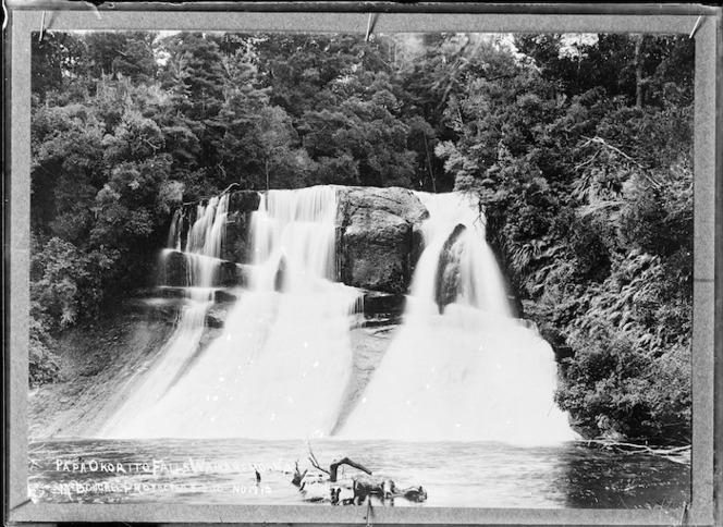 Papakorito Falls, on the Aniwaniwa Stream which flows into Lake Waikaremoana - Photograph taken by John William McDougall