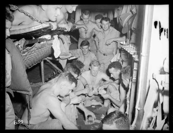 World War II soldiers aboard a transport in the Pacific