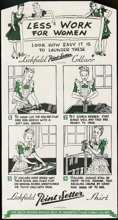 Lichfield Shirts :Less work for women; look how easy it is to launder these Lichfield Point-Setter collars. R.T.M. 32715. [1940s].