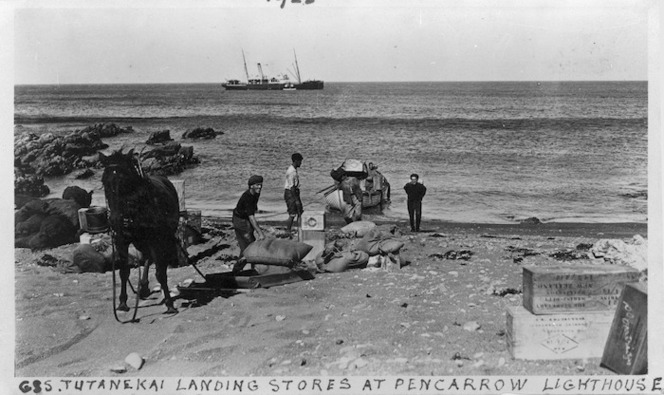 Crew from the ship Tutanekai landing stores at Pencarrow lighthouse, Pencarrow Head