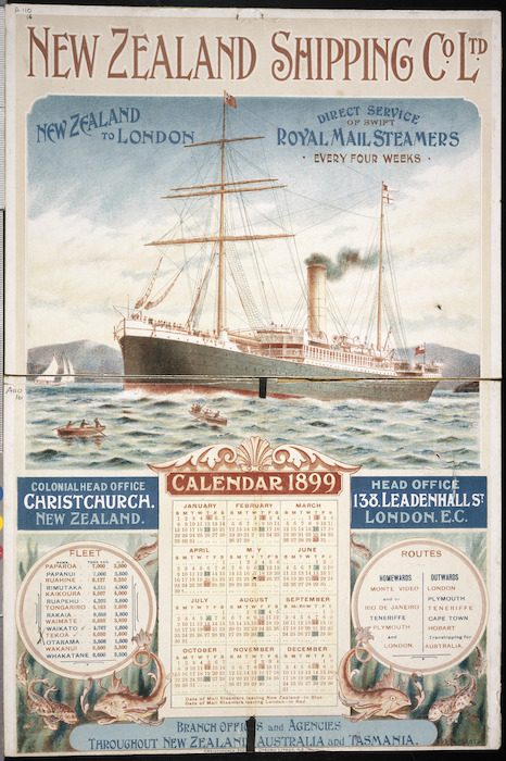 Presants, Philip Robert, 1867-1942 :New Zealand Shipping Co. Ltd. Calendar 1899.