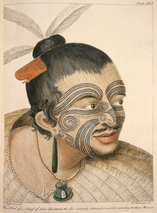 Parkinson, Sydney, 1745-1771 :The head of a chief of New Zealand, the face curiously tataow'd, or marked according to their manner. S. Parkinson del. T. Chambers sc. London, 1784. Plate XVI.