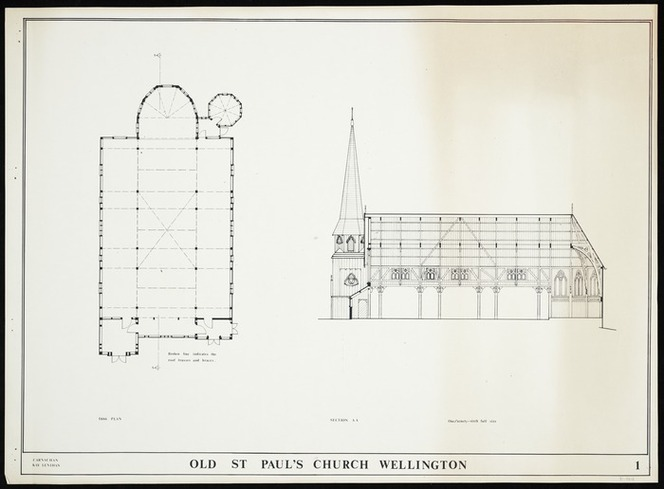 [Thatcher, Frederick], 1814-1890 :Old St Paul's Church Wellington. 1866 plan [and] Section AA. / Carnachan Kay Lenihan [1959-1972?]