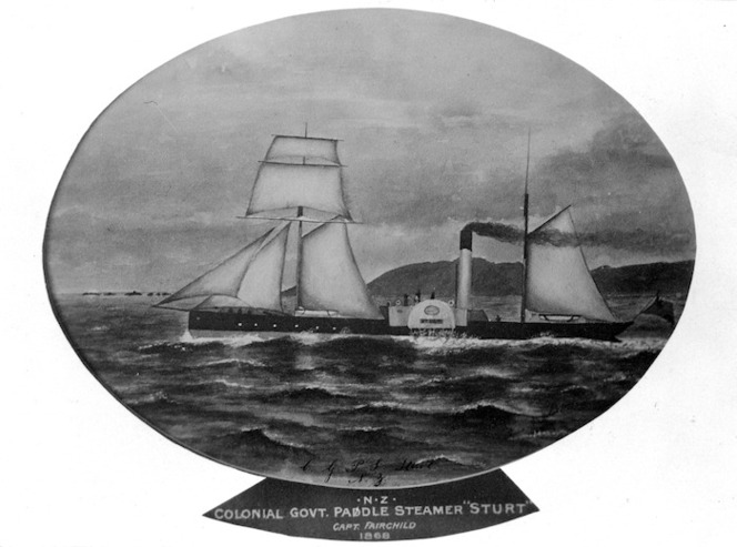 Photographic copy, of a painting possibly by B W Nazer, depicting the Colonial Government paddle steamer Sturt