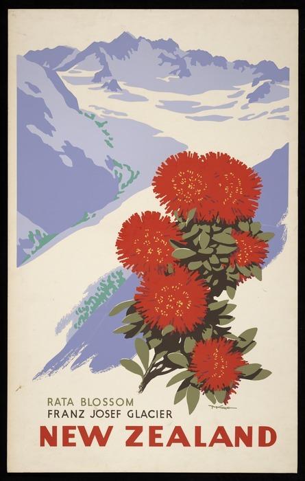 King, Marcus, 1891-1983 :Rata blossom, Franz Josef Glacier, New Zealand. [ca 1955]