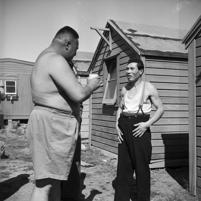 Maori guard and prisoner at the Japanese prisoner of war camp near Featherston