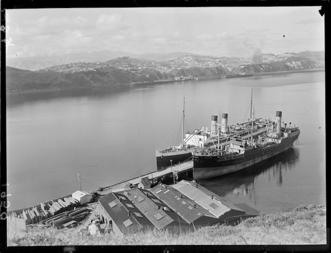 Ships Wahine and Waipiata at Patent Slip Wharf, Greta Point, Wellington