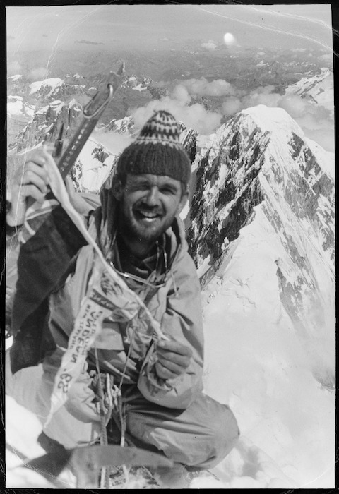 David Adcock photographed at 21,769 feet on Mount Yerupaja in the Andes