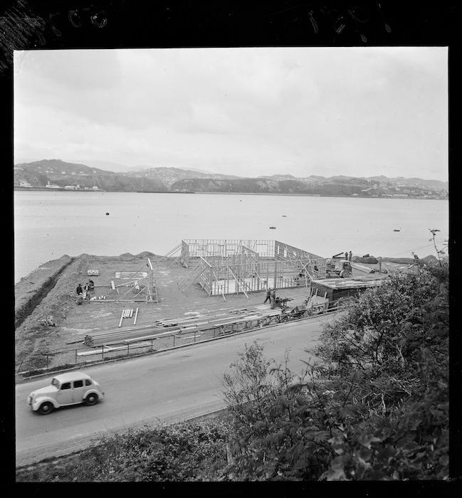 Tasman Empire Airways Ltd engineering shop under construction on Evans Bay reclamation