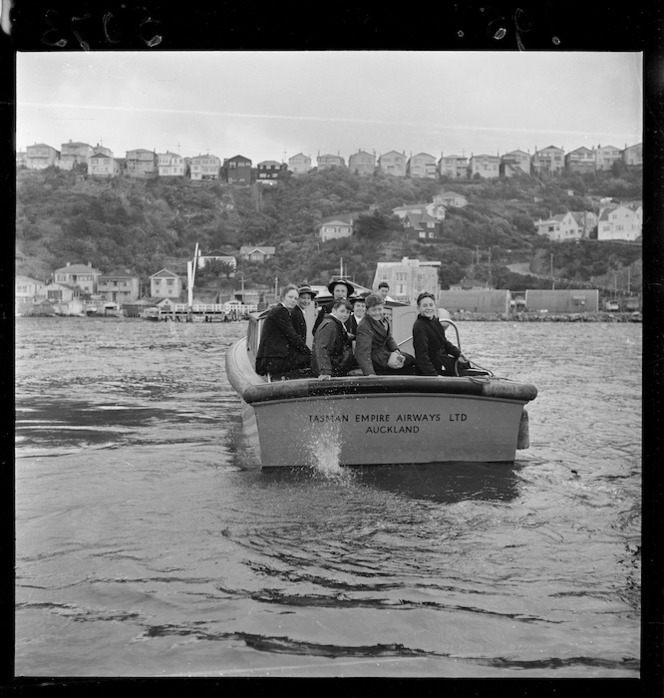 School children returning to the Evans Bay Yacht Club, Wellington, after a visit to the TEAL Solent flying boat Awatere