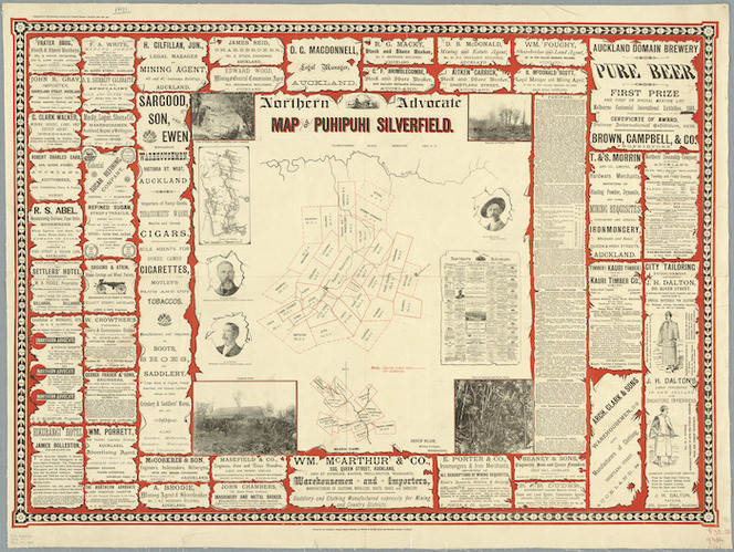 Map of Puhipuhi silverfield [cartographic material] / [surveyed by] Andrew Wilson, mining surveyor.