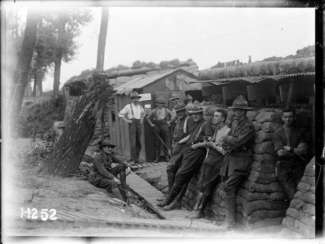 The New Zealand Rifle Brigade in camp near the line, World War I