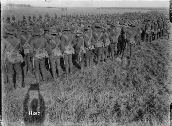 Massed troops at a New Zealand Division thanksgiving service, World War I