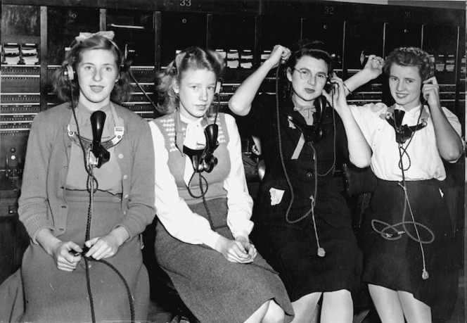 Four women working as telephone operators, circa 1940s.