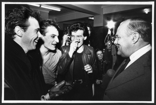 Prime Minister Robert Muldoon with music group Mi-Sex