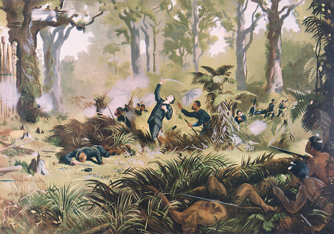 Watkins, Kennett, 1847-1933 :Death of Major Von Tempskey at Te-Ngutu-o-te-Manu, New Zealand, 7th September, 1868 / W P lith; [from a painting by Kennett Watkins] Wanganui, A D Willis [1893]