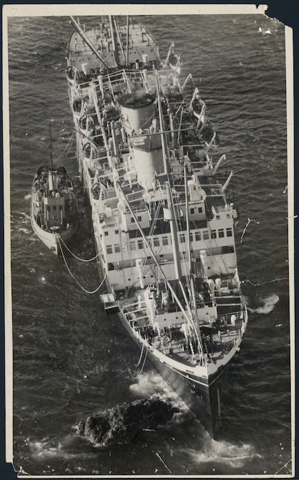 Aerial view of the `Wanganella' on Barrett's Reef, Wellington