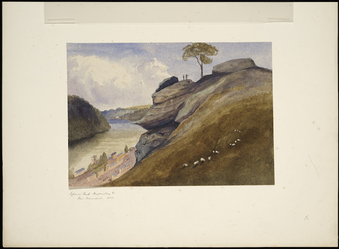 [Fox, William] 1812-1893 :Jefferson's Rock. Harpers Ferry V[irginia, U S A]. River Shenandoah. 1853
