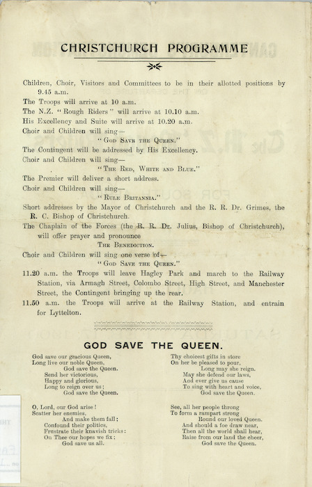 """Christchurch programme [for] Canterbury's demonstration on the departure of the N.Z. """"Rough Riders"""" for South Africa. Hagley Park, Saturday, Feb[ruary] 17, 1900. [Programme inside front cover]. 1900."""