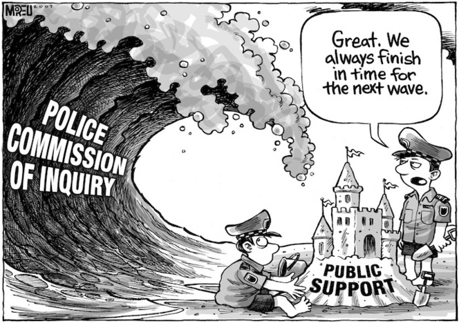 """Police Commission of Inquiry. """"Great. We always finish in time for the next wave."""" 4 April, 2007."""