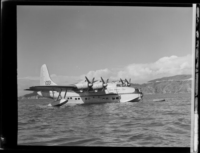 Tasman Empire Airways Limited Short S.45 Solent flying boat, R.M.A Araragi (ZK-AMM), is moored after having landed at Evans Bay, Wellington