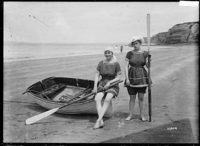 Two women in bathing costumes