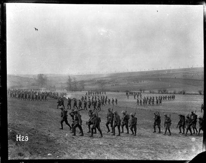 New Zealand troops training for an attack on Messines, Belgium