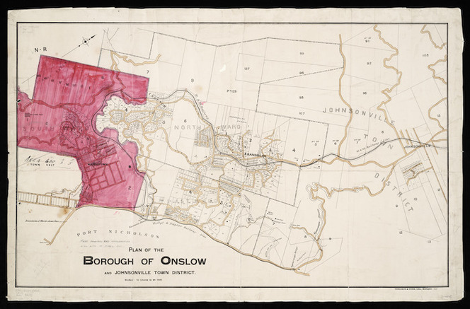 Plan of the borough of Onslow and Johnsonville town district [cartographic material].
