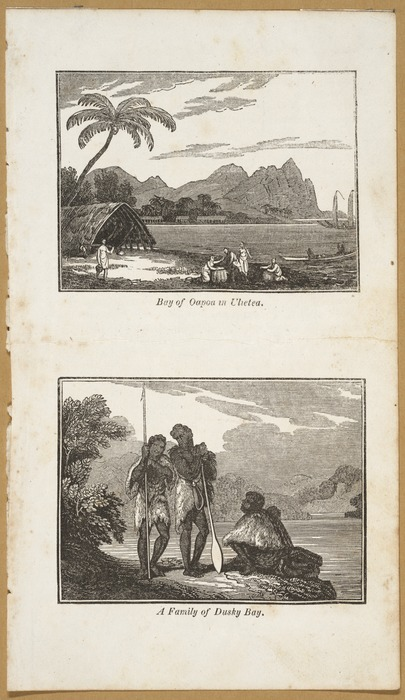 Various artists :[1. Bay of Oapoa in Ulietea; 2 A family of Dusky Bay. London, Sir Richard Phillips & Co., 1820]