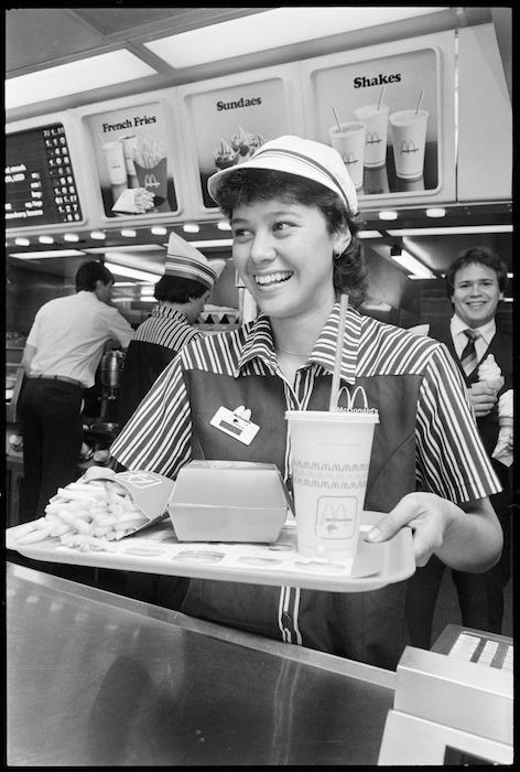 Marama Mateparae working in a McDonald's Family Restaurant.