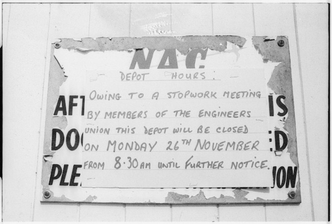 Engineers Union stopwork meeting notice, at a New Zealand National Airways Corporation depot