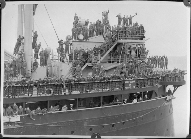Members of 3rd Echelon on board one of the transports, Wellington - Photograph taken by C P S Boyer